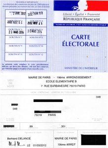 Carte d'électeur ( recto-verso)